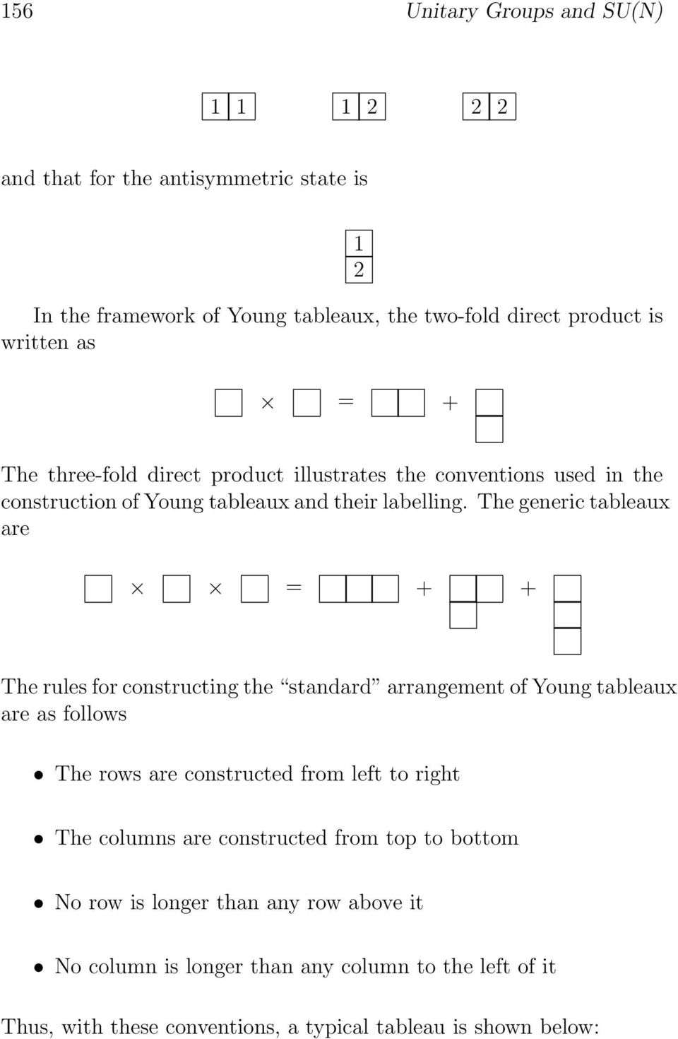 The generic tableaux are = + + The rules for constructing the standard arrangement of Young tableaux are as follows The rows are constructed from left to right