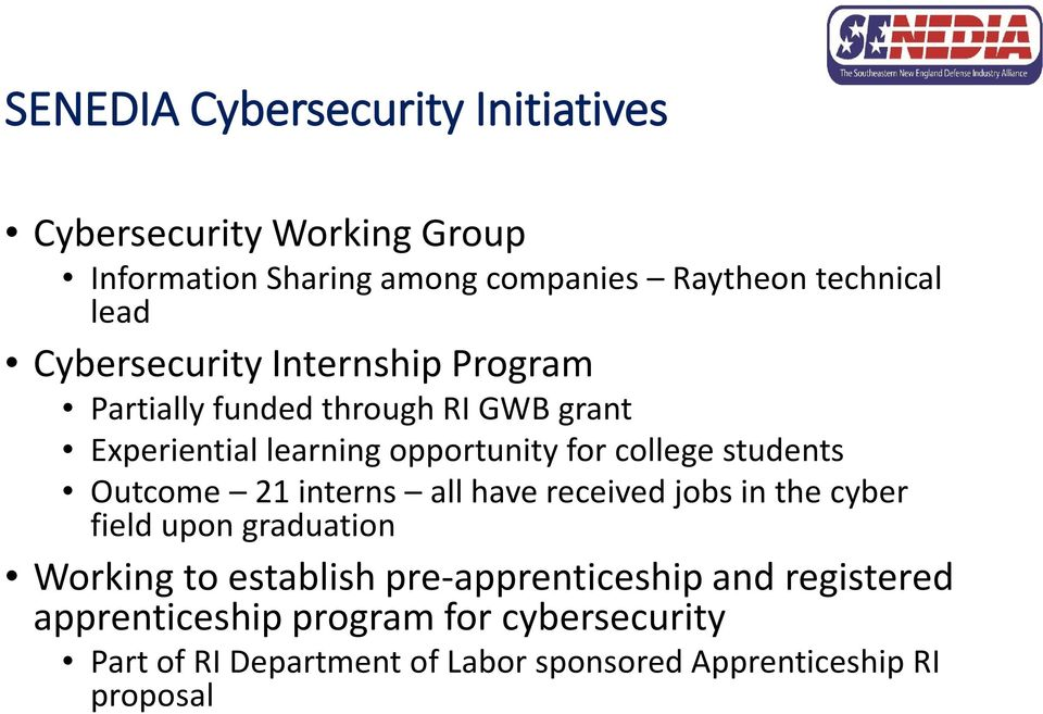 students Outcome 21 interns all have received jobs in the cyber field upon graduation Working to establish