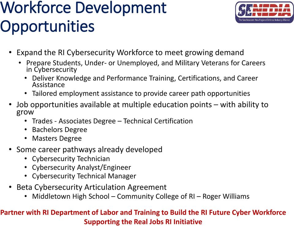 with ability to grow Trades - Associates Degree Technical Certification Bachelors Degree Masters Degree Some career pathways already developed Cybersecurity Technician Cybersecurity Analyst/Engineer