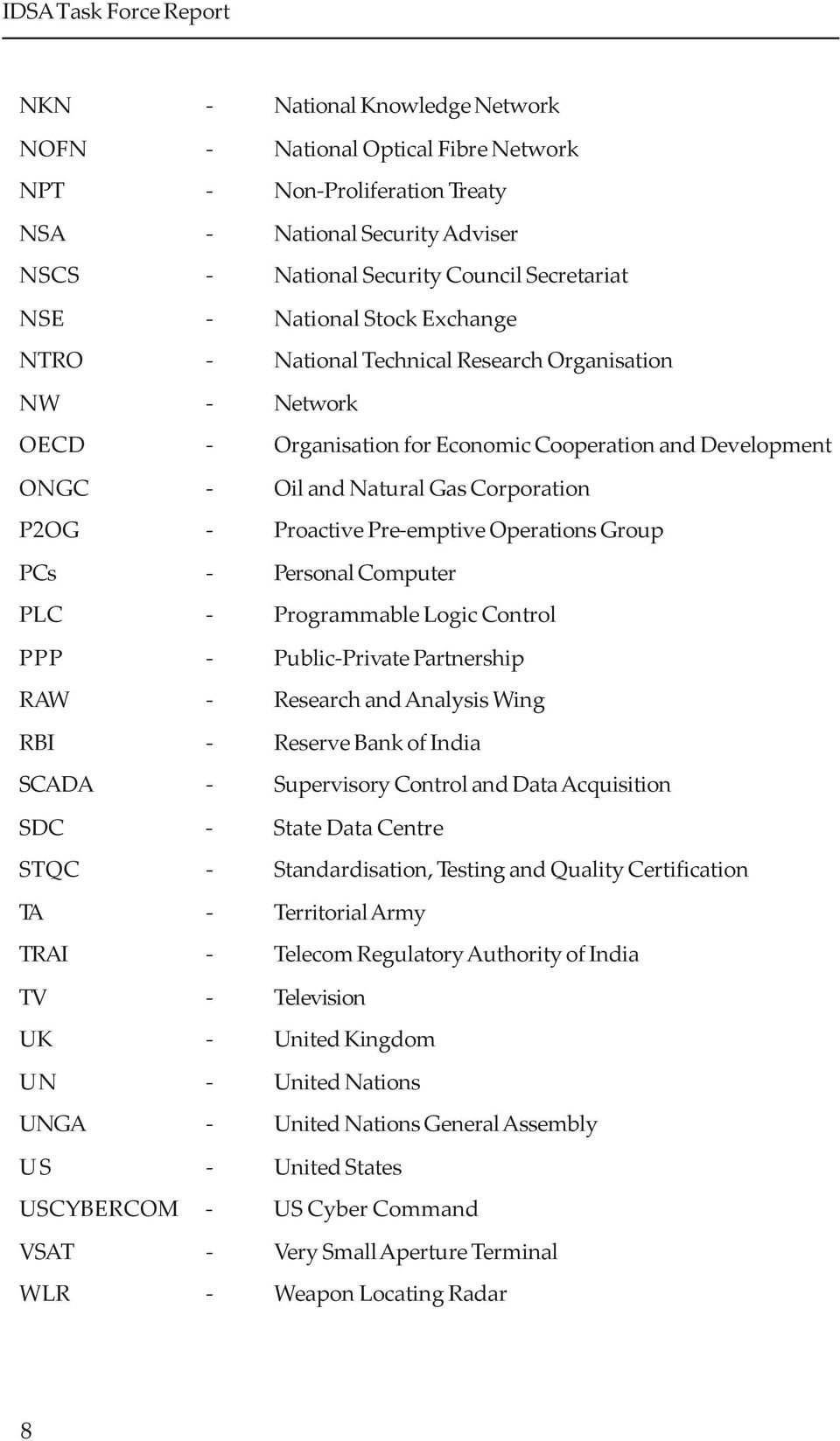 Corporation P2OG - Proactive Pre-emptive Operations Group PCs - Personal Computer PLC - Programmable Logic Control PPP - Public-Private Partnership RAW - Research and Analysis Wing RBI - Reserve Bank