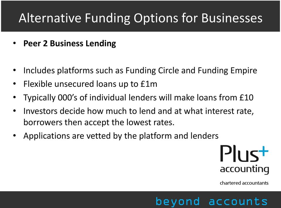 individual lenders will make loans from 10 Investors decide how much to lend and at what