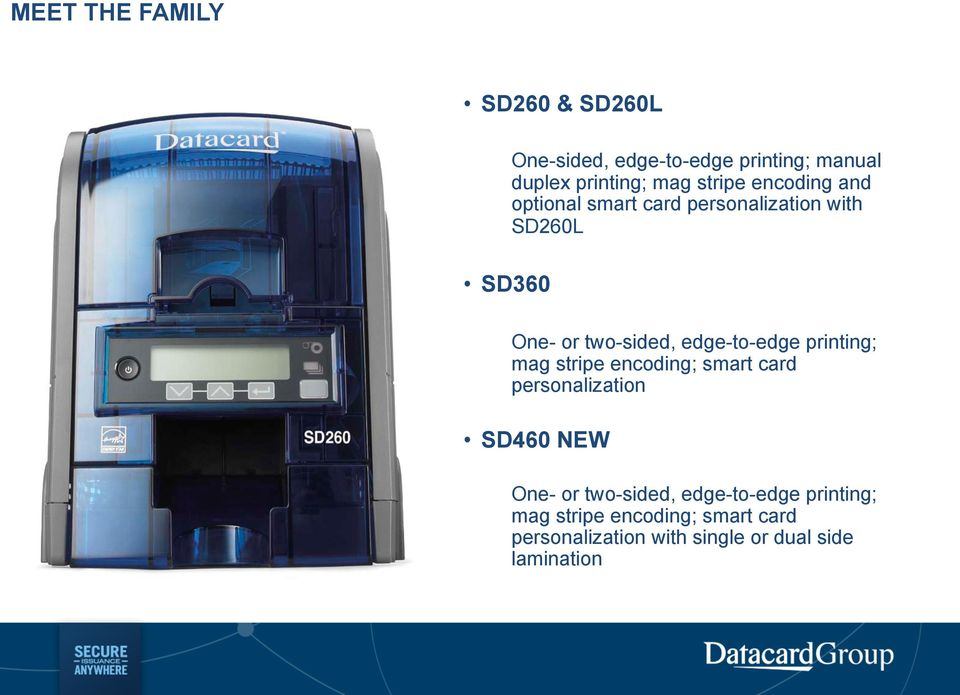 edge-to-edge printing; mag stripe encoding; smart card personalization SD460 NEW One- or
