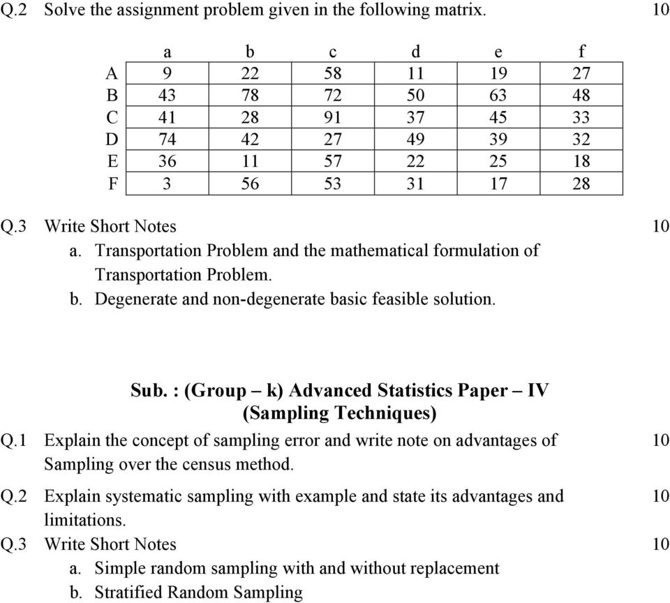 Transportation Problem and the mathematical formulation of Transportation Problem. b. Degenerate and non-degenerate basic feasible solution. Sub.