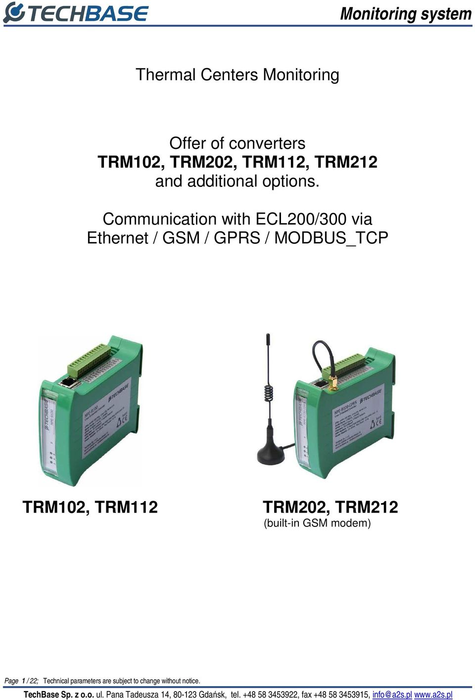 Communication with ECL200/300 via Ethernet / GSM / GPRS / MODBUS_TCP