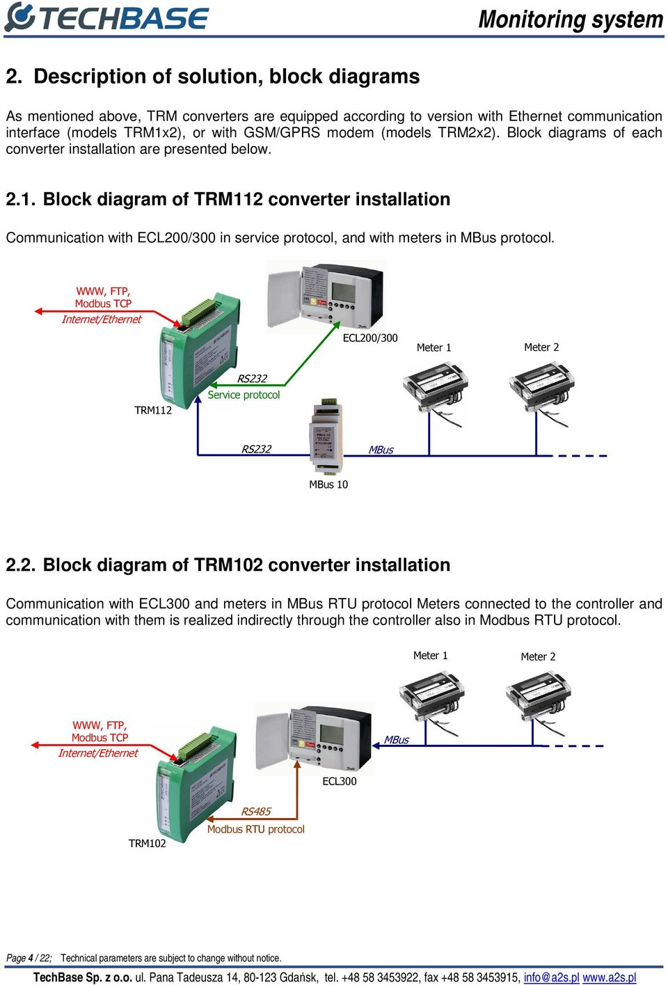 Block diagram of TRM112 converter installation Communication with ECL200/300 in service protocol, and with meters in MBus protocol.
