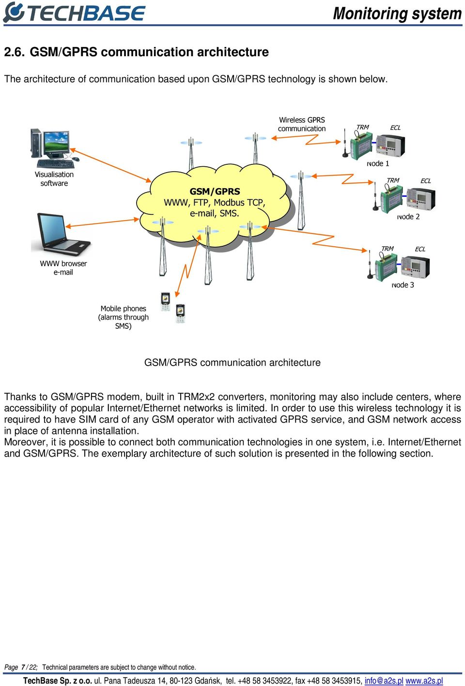 Node 1 TRM ECL Node 2 TRM ECL WWW browser e-mail Node 3 Mobile phones (alarms through SMS) GSM/GPRS communication architecture Thanks to GSM/GPRS modem, built in TRM2x2 converters, monitoring may
