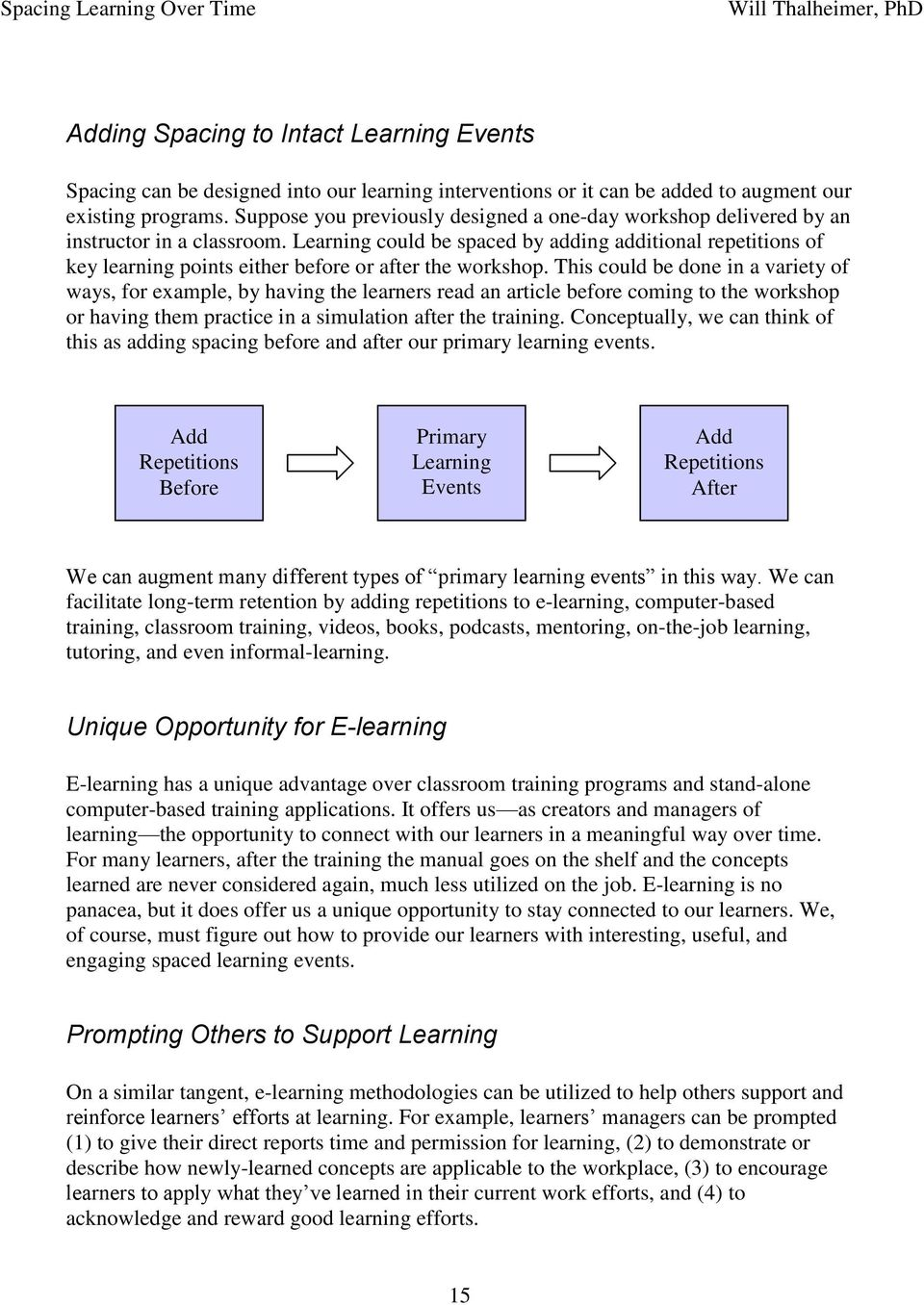 Learning could be spaced by adding additional repetitions of key learning points either before or after the workshop.