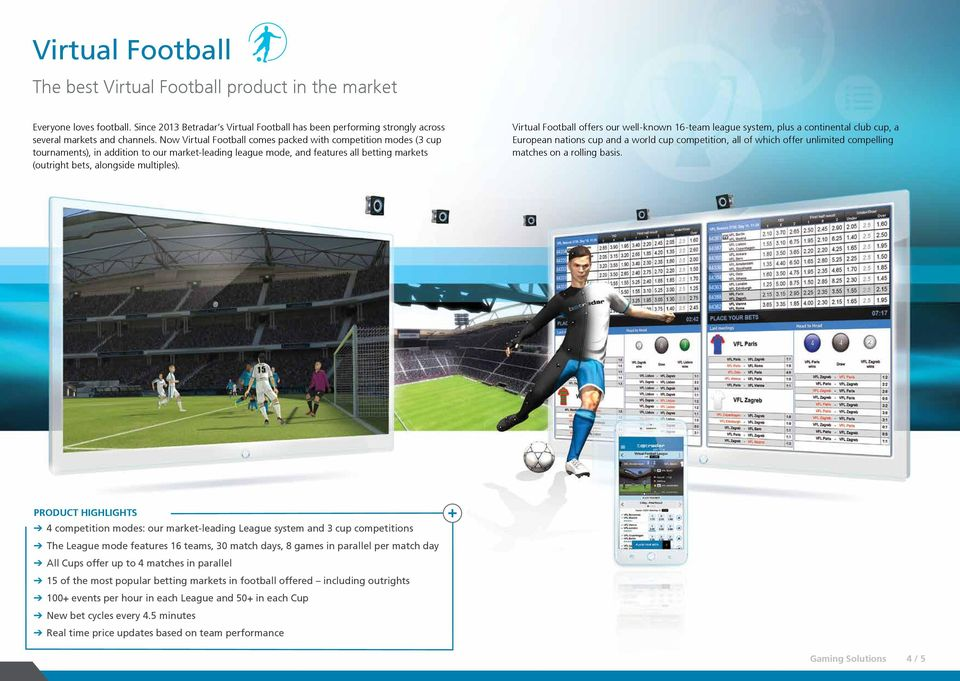 Virtual Football offers our well-known 16-team league system, plus a continental club cup, a European nations cup and a world cup competition, all of which offer unlimited compelling matches on a