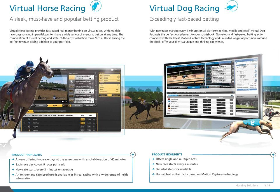 The combination of as-real betting and state-of-the-art visualisation make Virtual Horse Racing the perfect revenue-driving addition to your portfolio.