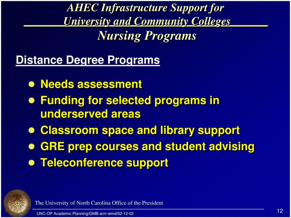 Funding for selected programs in underserved areas!