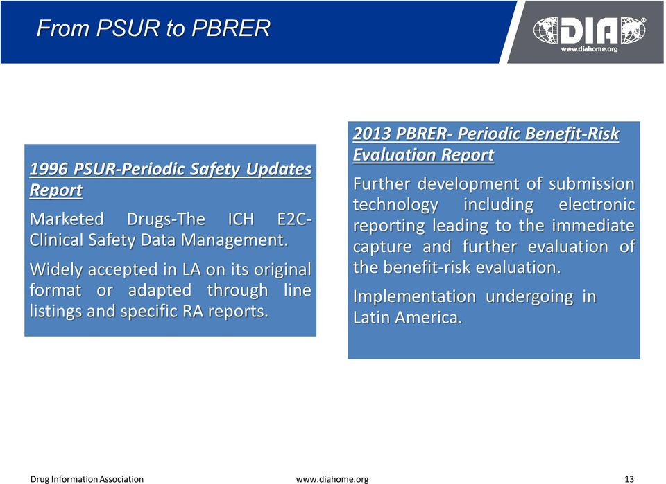 2013 PBRER- Periodic Benefit-Risk Evaluation Report Further development of submission technology including electronic reporting
