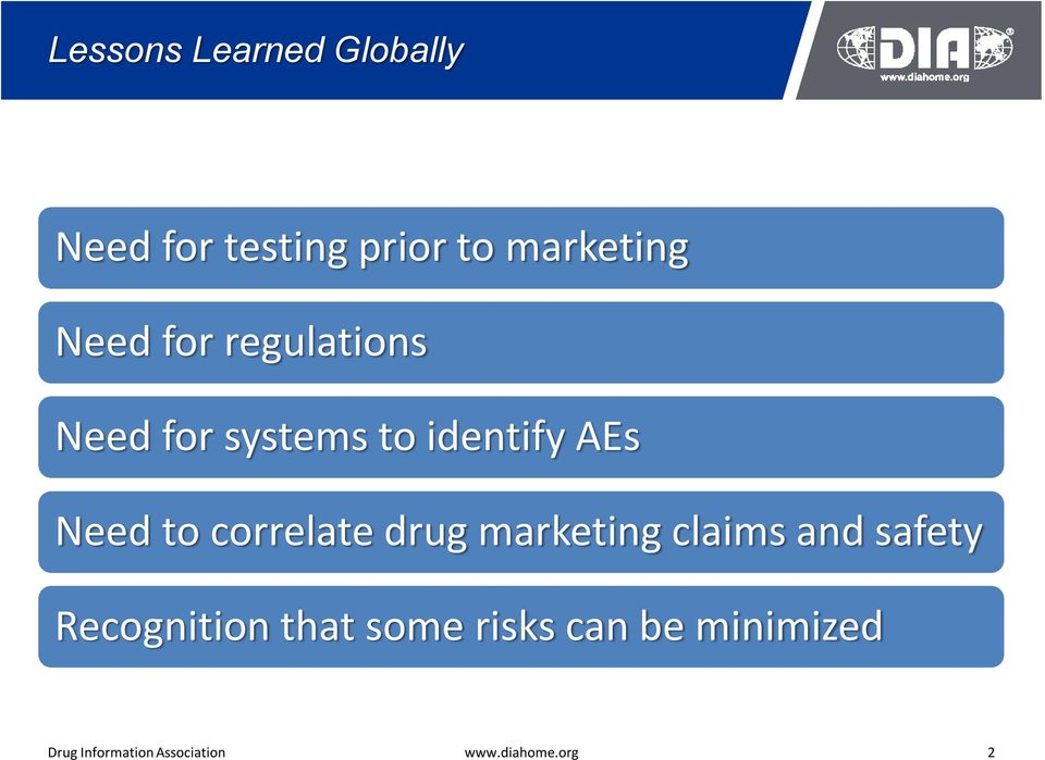 correlate drug marketing claims and safety Recognition that some