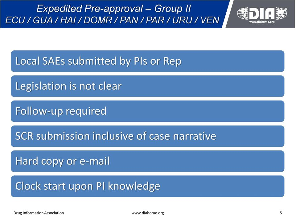 required SCR submission inclusive of case narrative Hard copy or e-mail