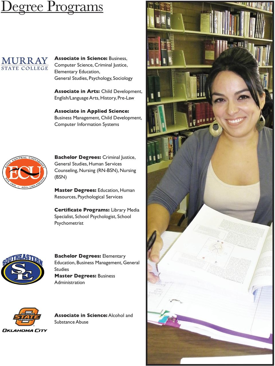 Studies, Human Services Counseling, Nursing (RN-BSN), Nursing (BSN) Master Degrees: Education, Human Resources, Psychological Services Certificate Programs: Library Media Specialist, School