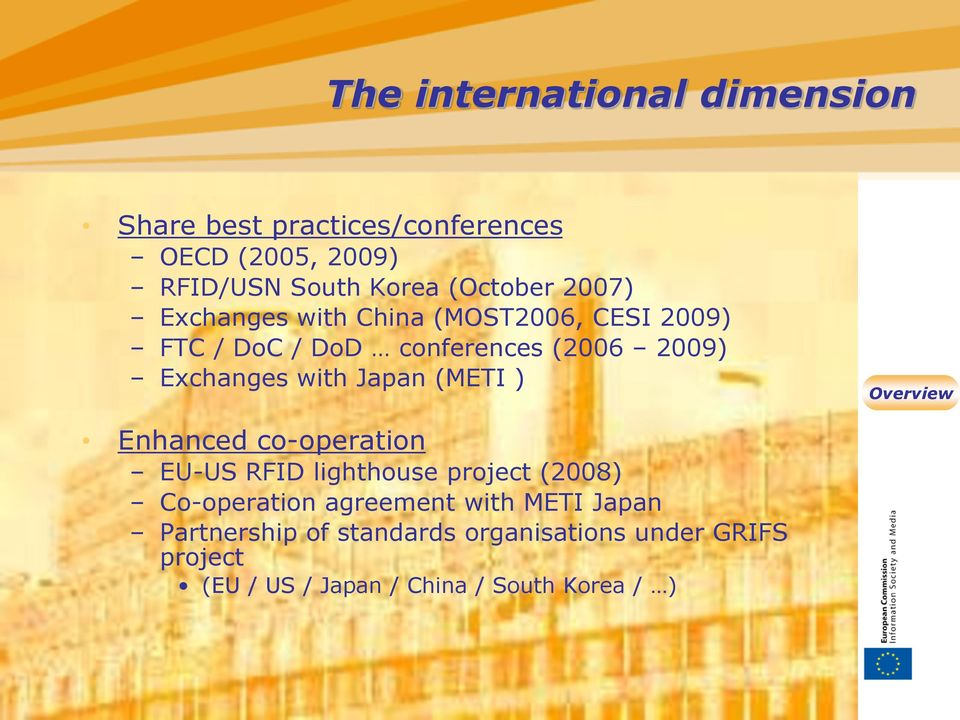 Exchanges with Japan (METI ) Enhanced co-operation EU-US RFID lighthouse project (2008) Co-operation