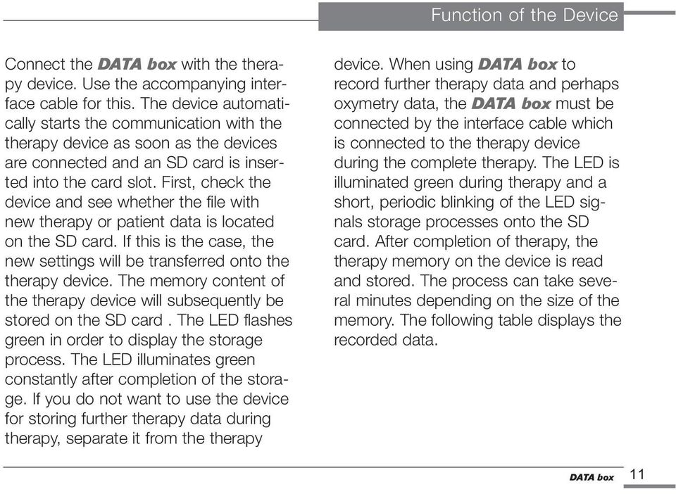 First, check the device and see whether the file with new therapy or patient data is located on the SD card. If this is the case, the new settings will be transferred onto the therapy device.
