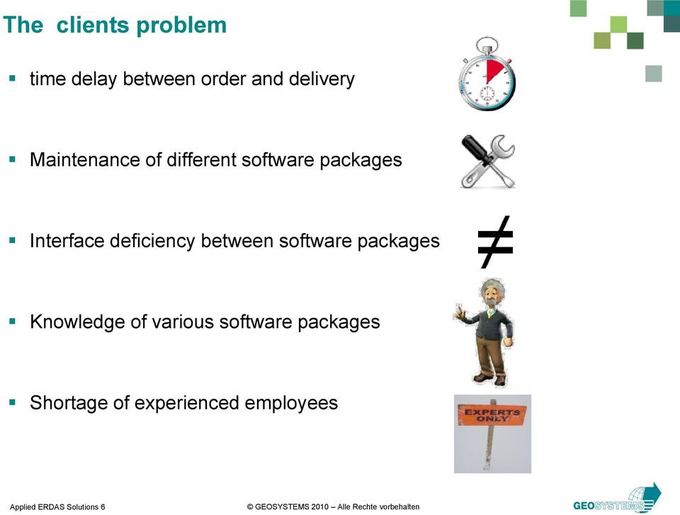 deficiency between software packages Knowledge of various