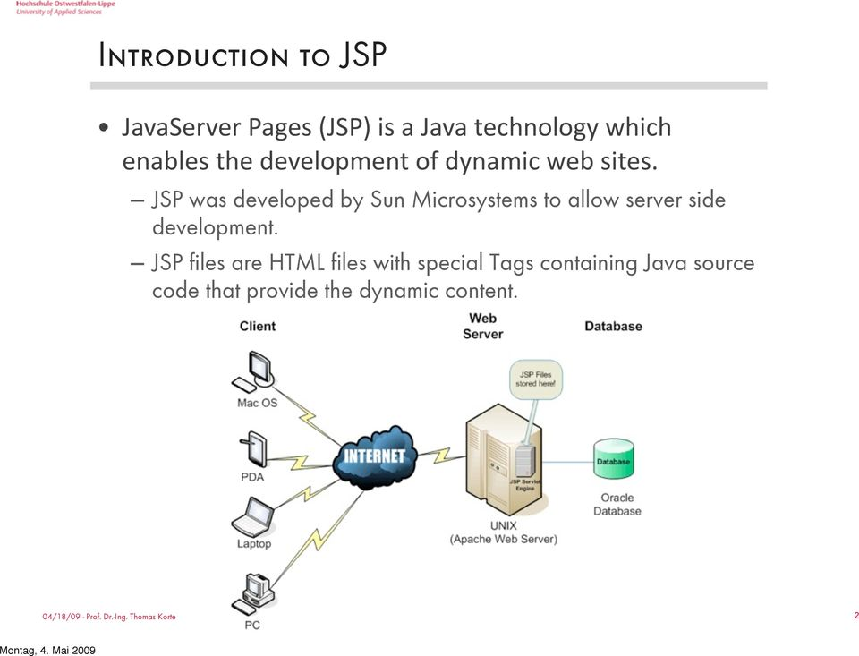 JSP was developed by Sun Microsystems to allow server side development.