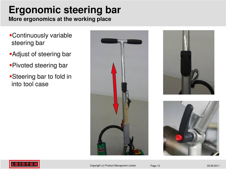 bar Adjust of steering bar Pivoted steering