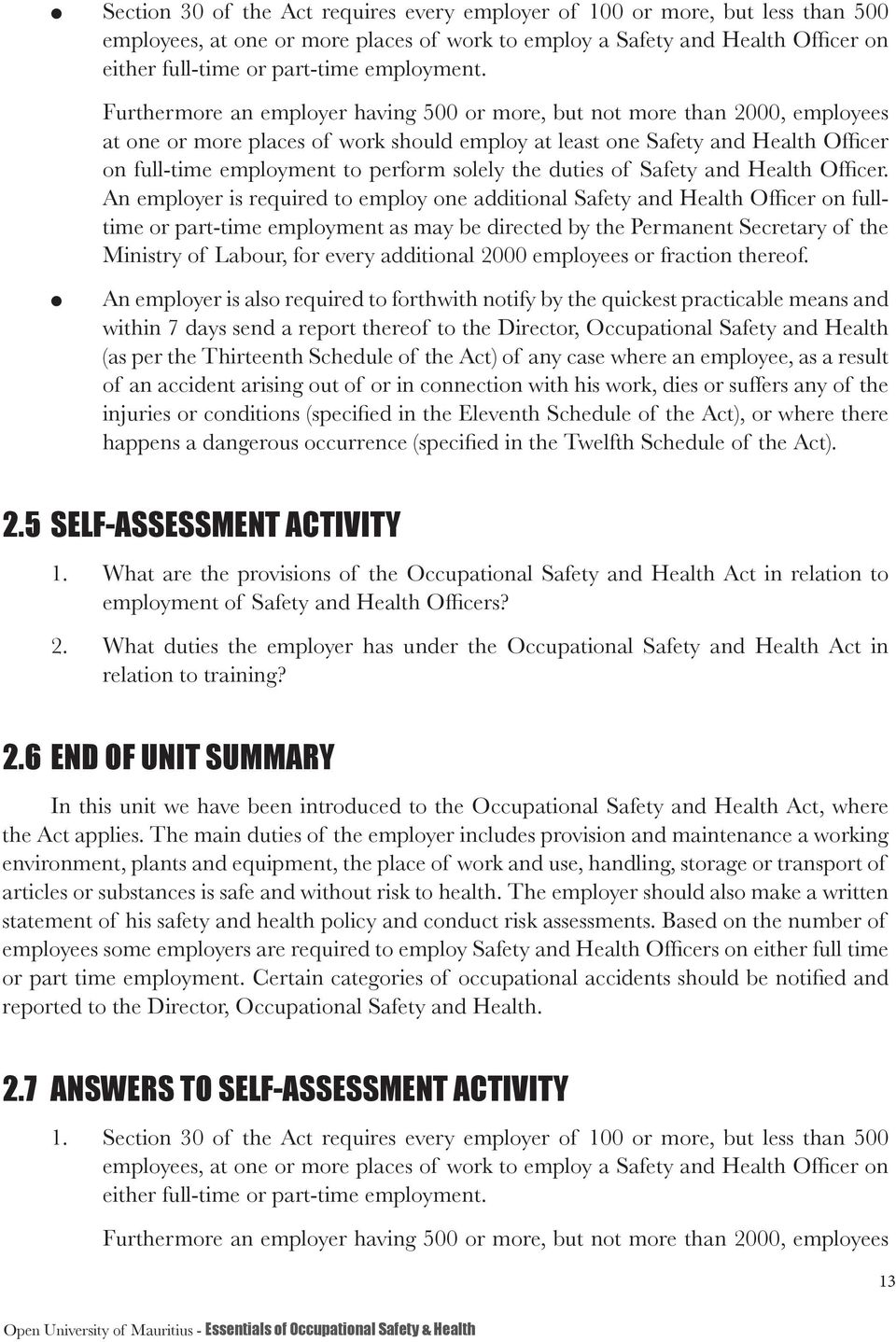 duties of Safety and Heath Officer.