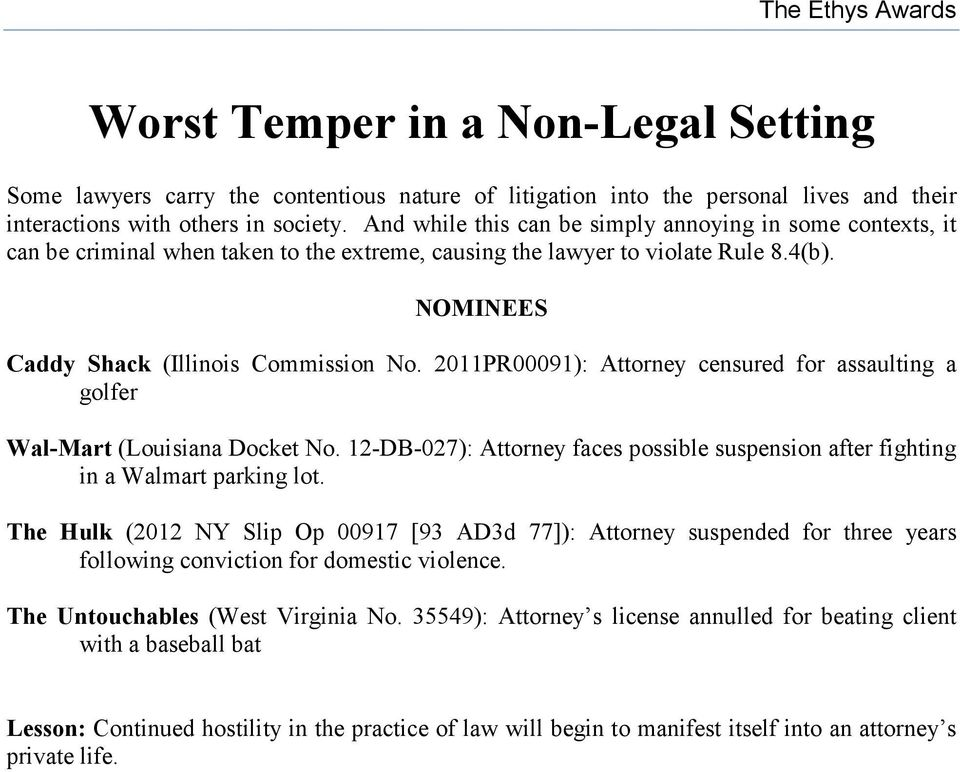 2011PR00091): Attorney censured for assaulting a golfer Wal-Mart (Louisiana Docket No. 12-DB-027): Attorney faces possible suspension after fighting in a Walmart parking lot.