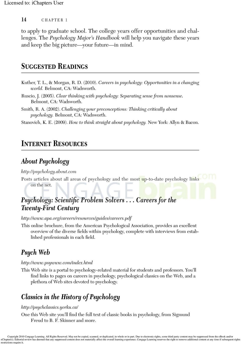 Careers in psychology: Opportunities in a changing world. Belmont, CA: Wadsworth. Ruscio, J. (2005). Clear thinking with psychology: Separating sense from nonsense. Belmont, CA: Wadsworth. Smith, R.