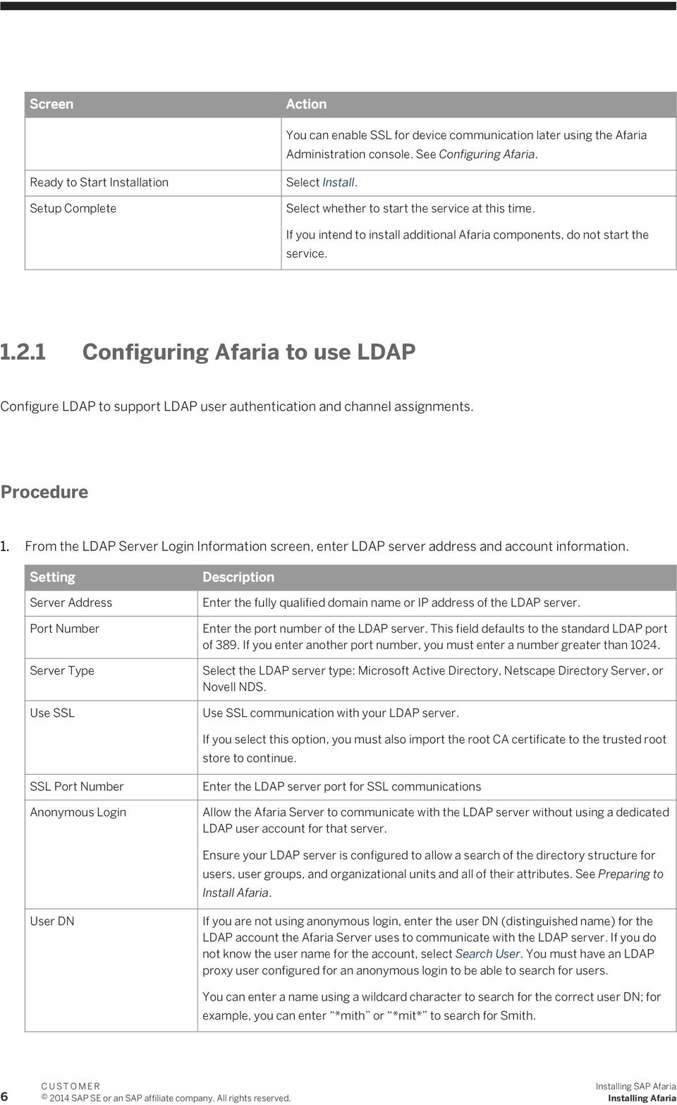 1 Configuring Afaria to use LDAP Configure LDAP to support LDAP user authentication and channel assignments. 1.