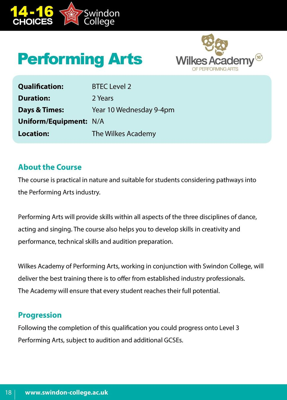 The course also helps you to develop skills in creativity and performance, technical skills and audition preparation.