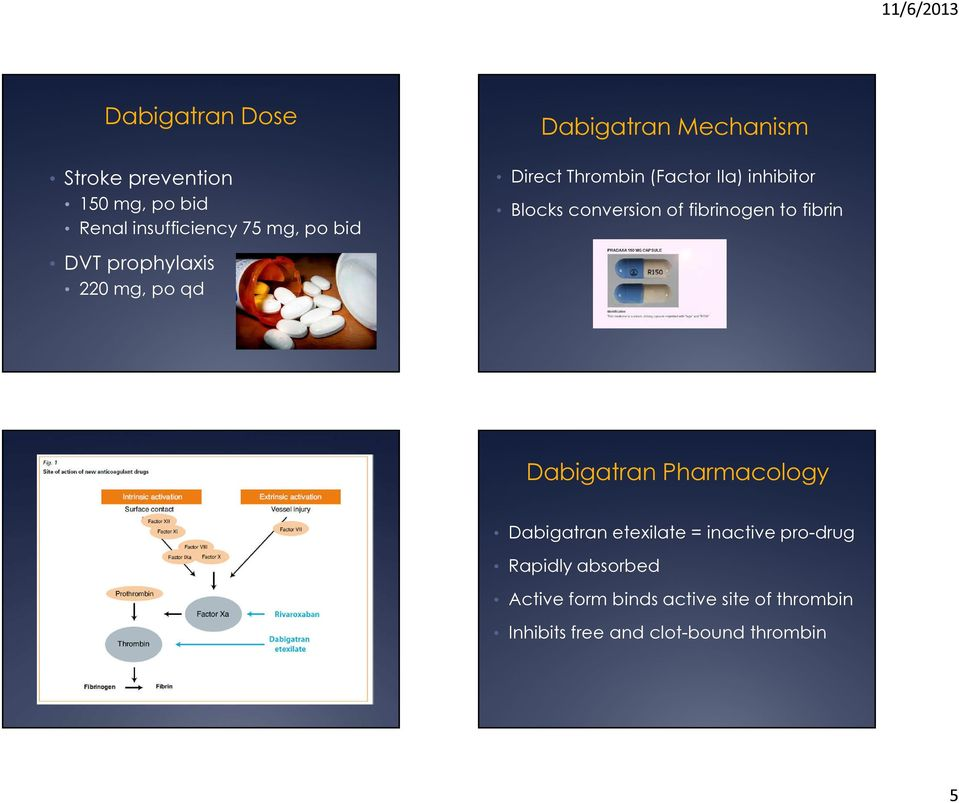 conversion of fibrinogen to fibrin Dabigatran Pharmacology Dabigatran etexilate = inactive