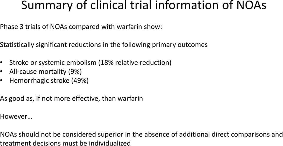 All-cause mortality (9%) Hemorrhagic stroke (49%) As good as, if not more effective, than warfarin However NOAs