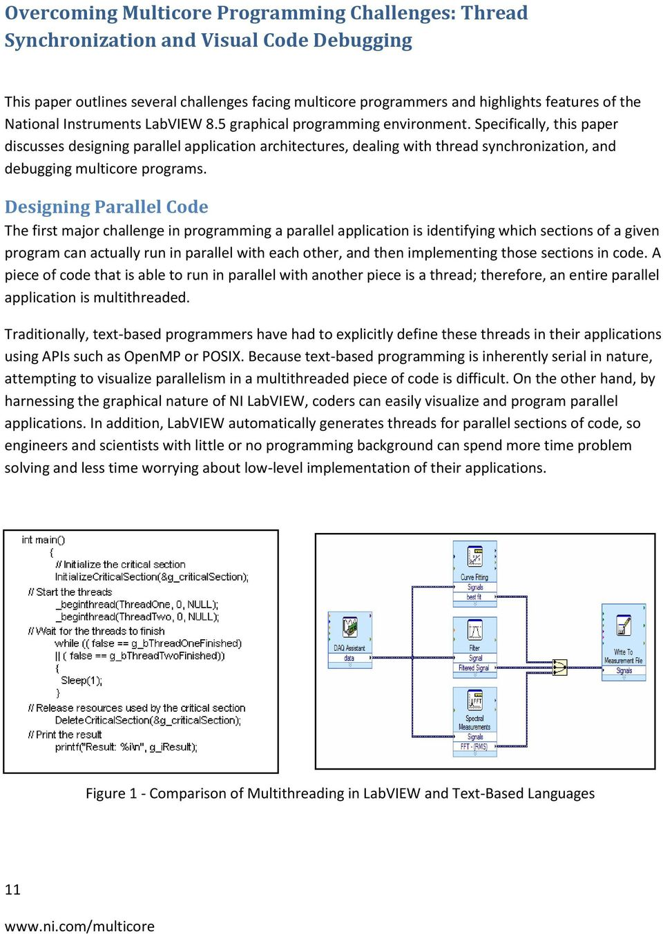 Specifically, this paper discusses designing parallel application architectures, dealing with thread synchronization, and debugging multicore programs.