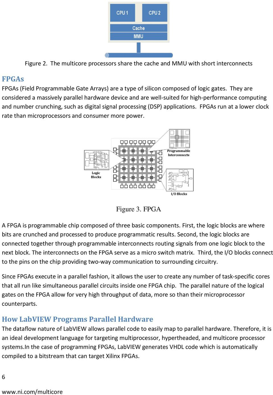 FPGAs run at a lower clock rate than microprocessors and consumer more power. Figure 3. FPGA A FPGA is programmable chip composed of three basic components.