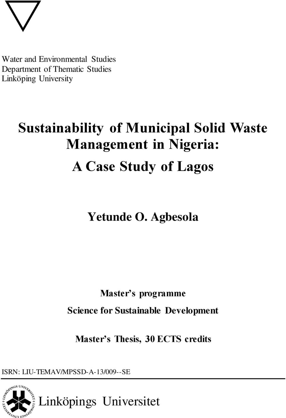 thesis on waste management in nigeria