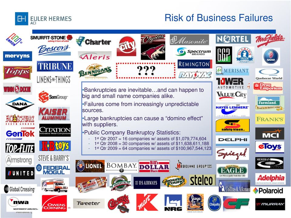 Large bankruptcies can cause a domino effect with suppliers.