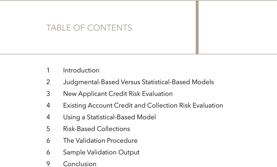 Collection Risk Evaluation 4 Using a Statistical-Based Model 5 Risk-Based