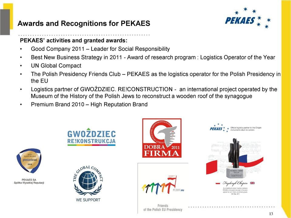 PEKAES as the logistics operator for the Polish Presidency in the EU Logistics partner of GWOŹDZIEC. RE!