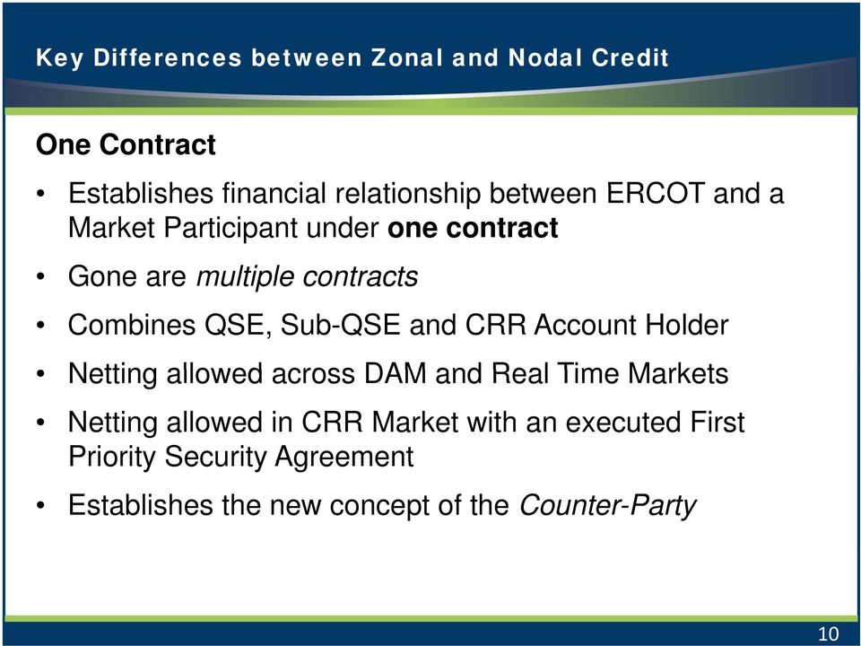 Sub-QSE and CRR Account Holder Netting allowed across DAM and Real Time Markets Netting allowed in CRR