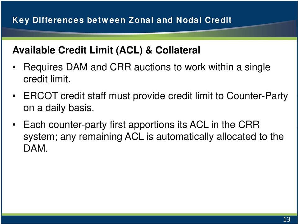 ERCOT credit staff must provide credit limit to Counter-Party on a daily basis.