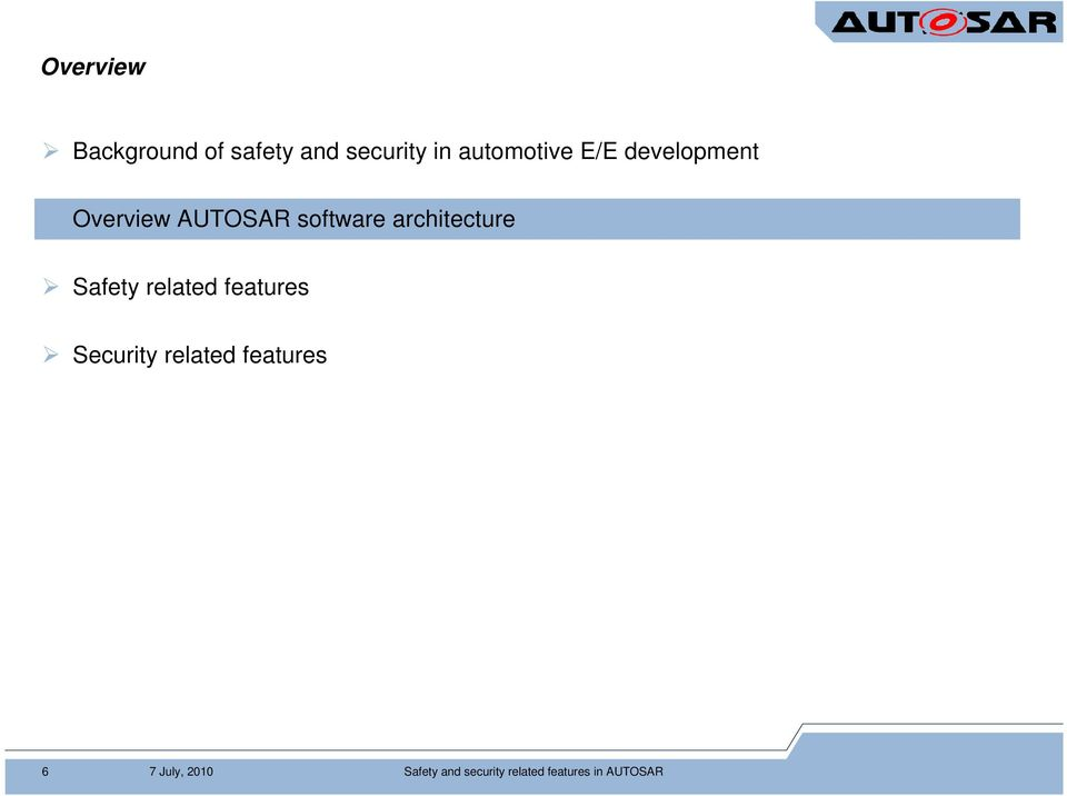 architecture Safety related features Security