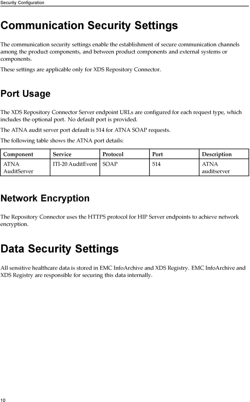 Port Usage The XDS Repository Connector Server endpoint URLs are configured for each request type, which includes the optional port. No default port is provided.