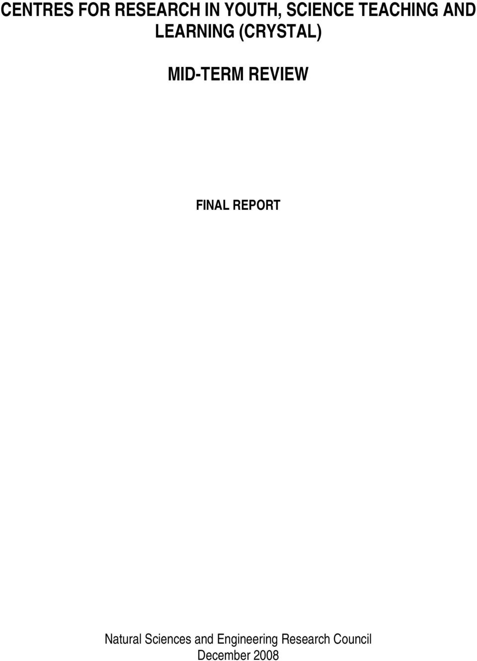 REVIEW FINAL REPORT Natural Sciences and