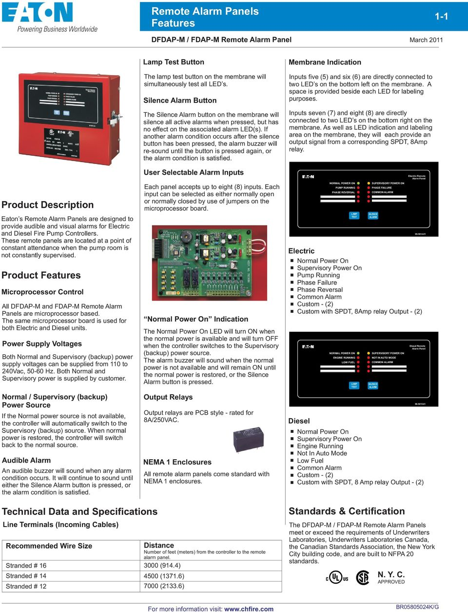 Product Features Microprocessor Control All DFDAP-M and FDAP-M Remote Alarm Panels are microprocessor based. The same microprocessor board is used for both Electric and Diesel units.
