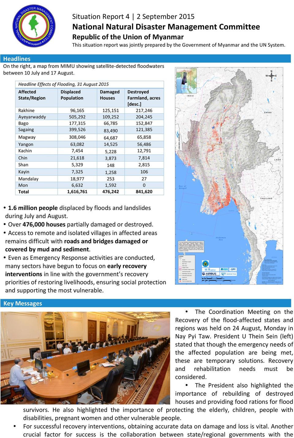 HeadlineEffectsofFlooding,31August2015 Affected State/Region Displaced Population Damaged Houses Destroyed Farmland,acres [desc.
