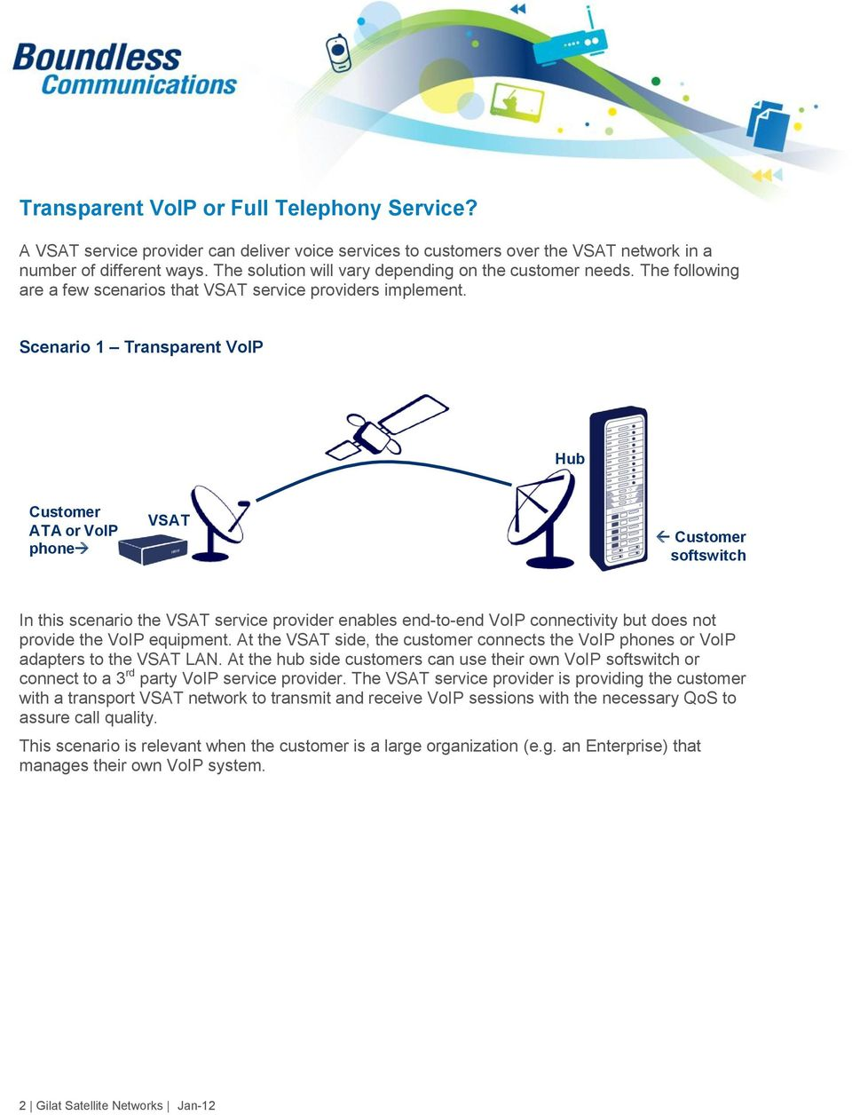 Scenario 1 Transparent VoIP Hub Customer ATA or VoIP phone Customer softswitch In this scenario the service provider enables end-to-end VoIP connectivity but does not provide the VoIP equipment.