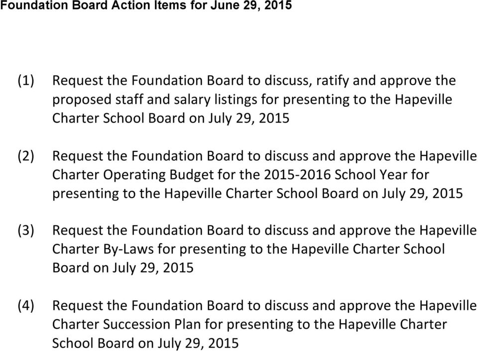 the Hapeville Charter School Board on July 29, 2015 (3) Request the Foundation Board to discuss and approve the Hapeville Charter By- Laws for presenting to the Hapeville Charter