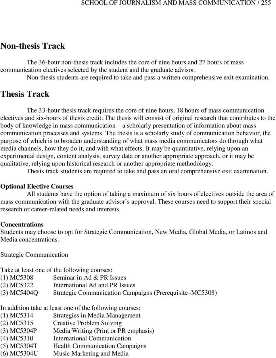 Thesis Track The 33-hour thesis track requires the core of nine hours, 18 hours of mass communication electives and six-hours of thesis credit.