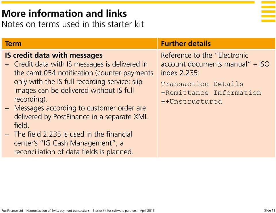 Messages according to customer order are delivered by PostFinance in a separate XML field. The field 2.