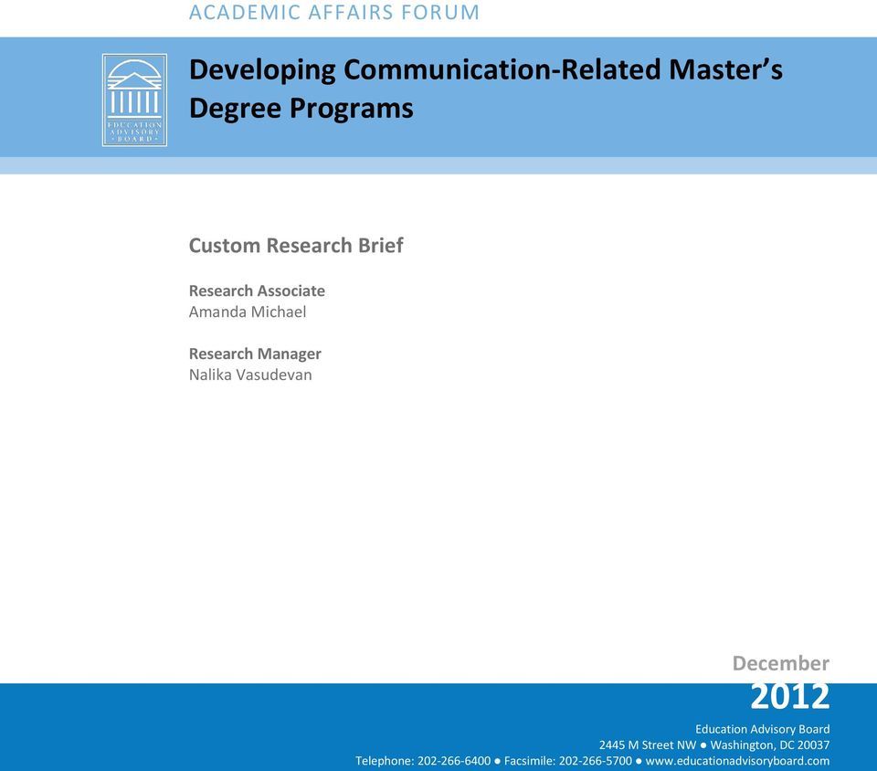 Programs Custom Research Brief Research