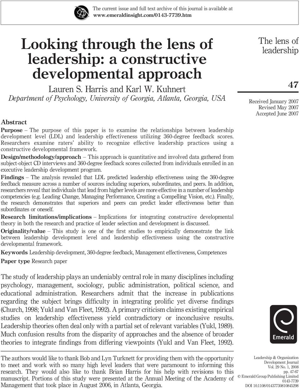 Kuhnert Department of Psychology, University of Georgia, Atlanta, Georgia, USA Abstract Purpose The purpose of this paper is to examine the relationships between development level (LDL) and