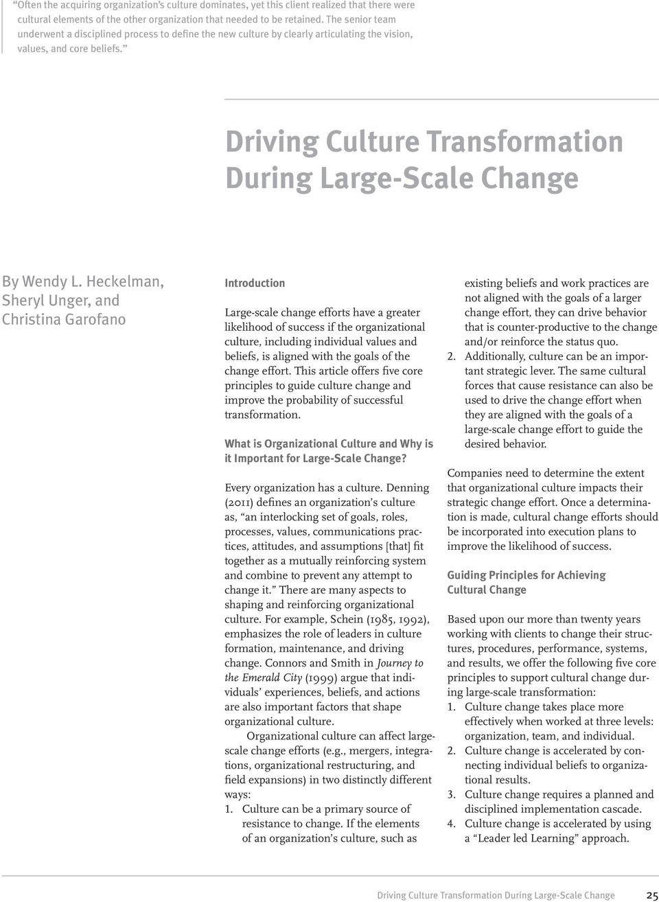 Driving Culture Transformation During Large-Scale Change By Wendy L.